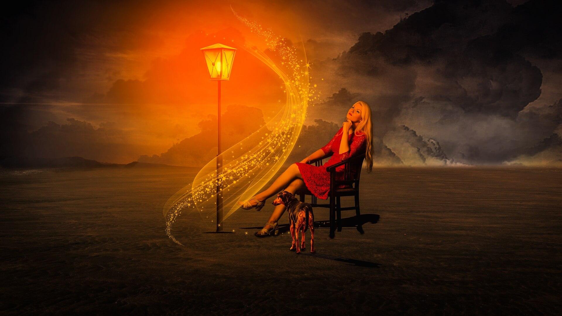 manipulált kép nő fényekkel