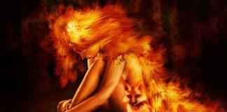 lángoló nő